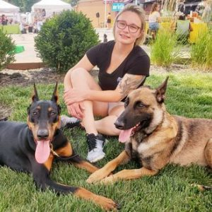 Samantha with dogs